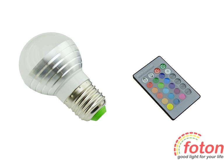 Светодиодная лампа RGB E27 Bulb ПДУ