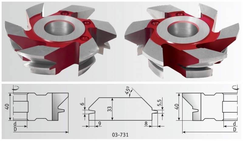 Фрезы для имитации бруса 160x40x20-33 мм, HSS
