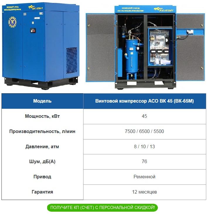 Поставка со склада винтовой компрессор АСО ВК 45 ВК 65М
