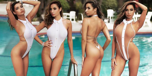 Стильный слитный белый откровенный открытый купальник монокини стринги модный 20