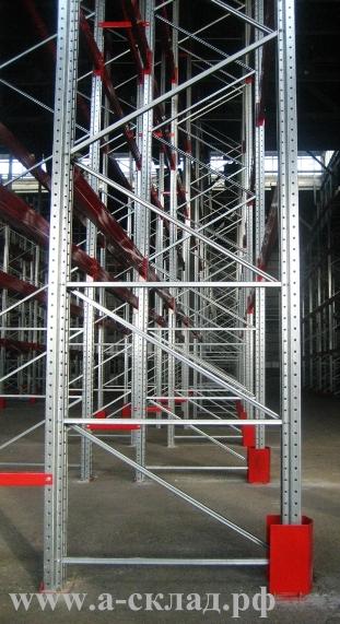 Стойки оцинкованные для складских стеллажей